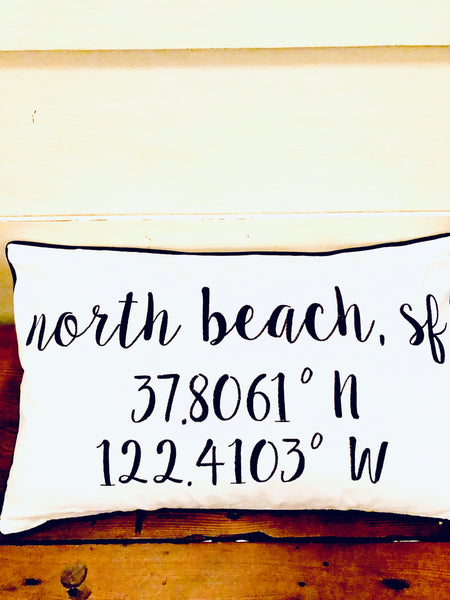 North Beach Longitude Latitude Embroidered Lumbar Pillow Cover
