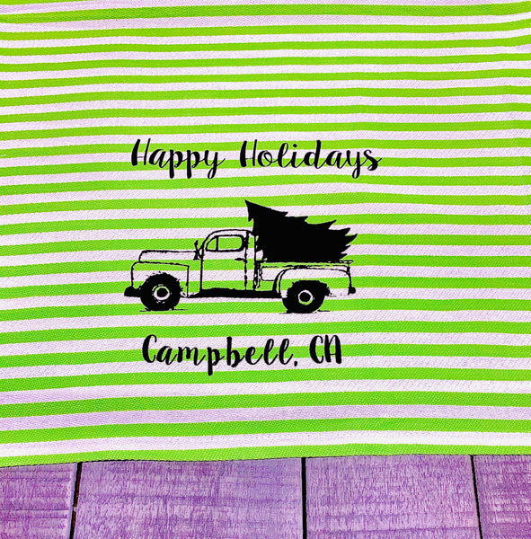 Luma Vintage Happy Holidays Campbell Tea Towel - Green Stripe