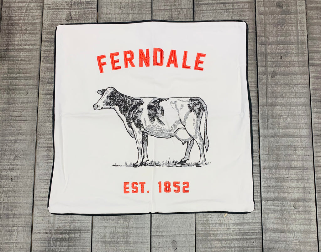 Embroidered Ferndale Cow Pillow Cover Black Piping