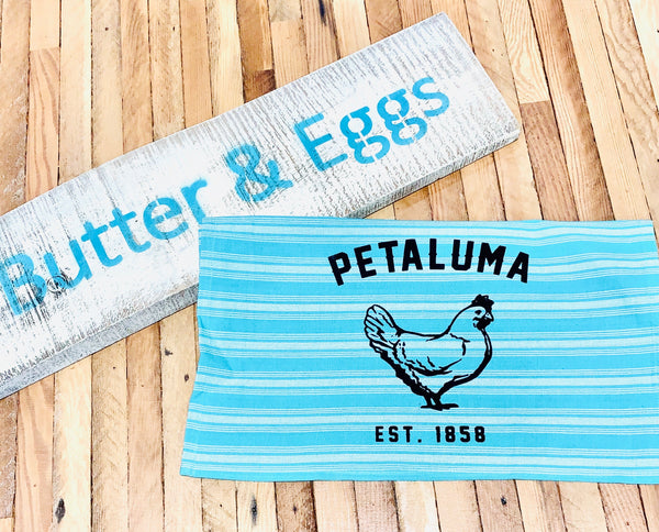Teal Tea Towel with Luma Vintage Petaluma Chicken