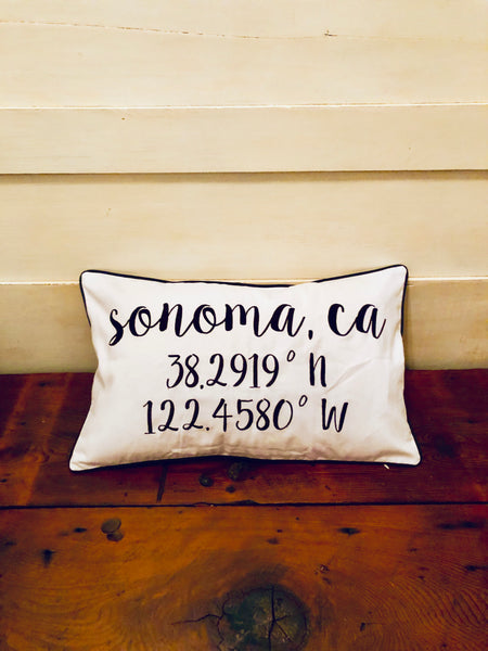 Sonoma Longitude Latitude Embroidered Lumbar Pillow Cover