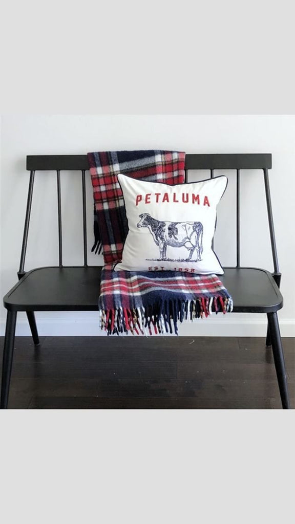 Embroidered Petaluma Cow Pillow Cover