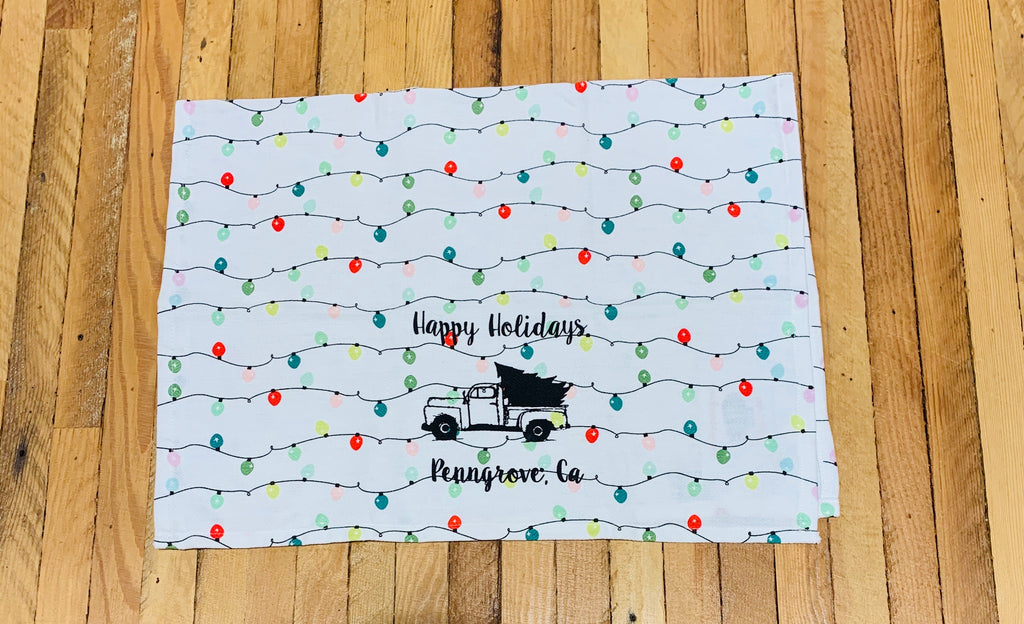 Luma Vintage Happy Holidays Penngrove Tea Towel - Holiday Lights