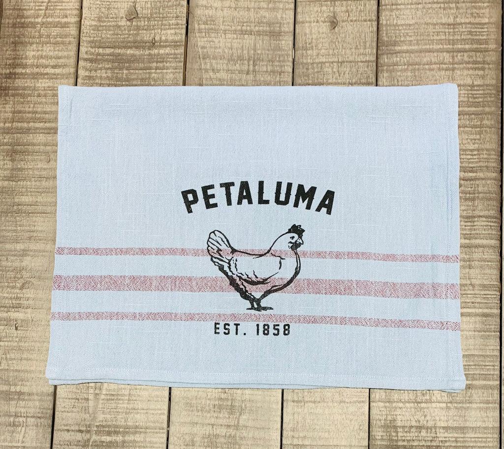 Blue with Merlot Stripe Tea Towel with Luma Vintage Chicken
