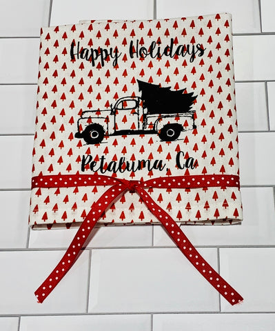 Luma Vintage Happy Holiday Petaluma Tea Towel - Small Red Xmas Tree