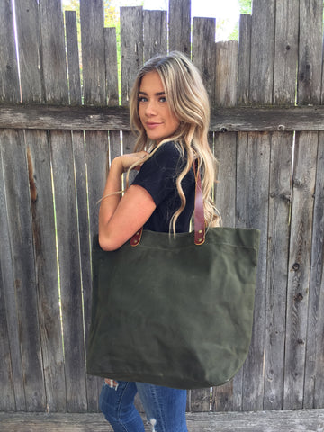 Waxed Canvas Tote Bag with Leather Handles- Navy Green Luma Vintage Collection