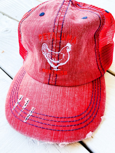 Luma Vintage Petaluma  Ponytail Hat-Red