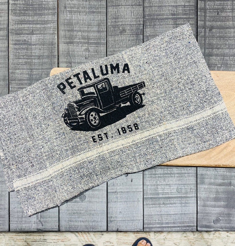 Tea Towel with Luma Vintage Truck- Petaluma Blue Tweed