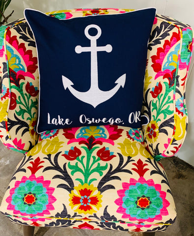 Lake Oswego Embroidered Anchor Pillow Cover