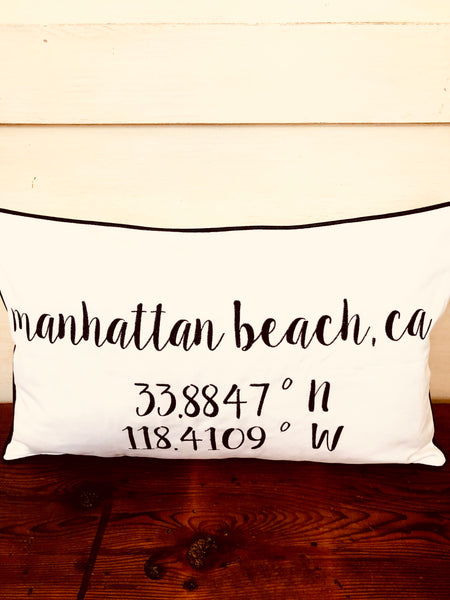 Manhattan Beach Longitude Latitude Embroidered Lumbar Pillow Cover