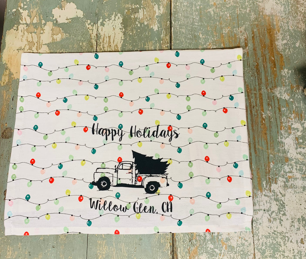 Willow Glen Happy Holidays Tea Towel - Holiday Lights