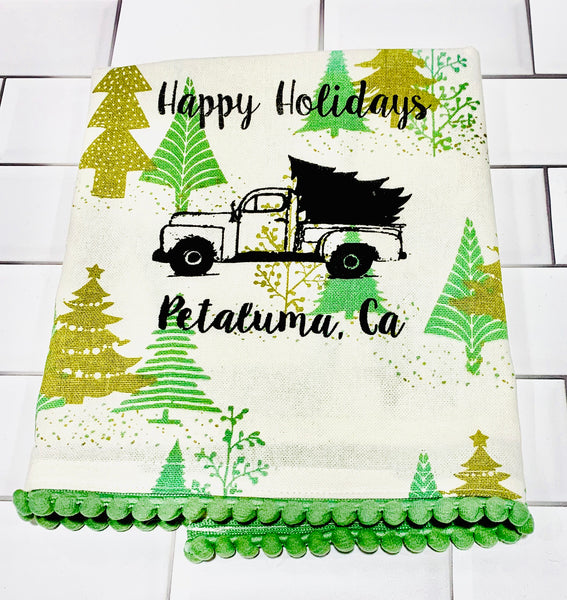 Luma Vintage Happy Holiday Petaluma Tea Towel - Green Xmas Tree