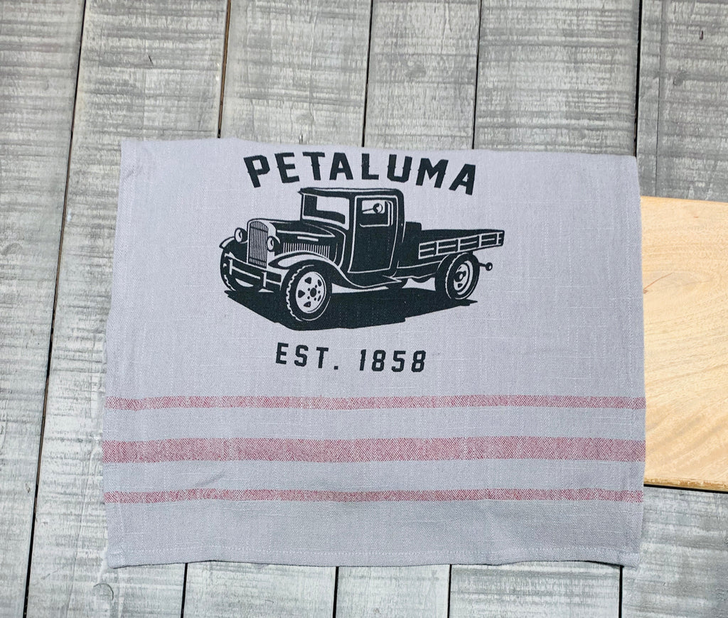 Tea Towel with Luma Vintage Truck- Petaluma Grey/ Merlot Stripe