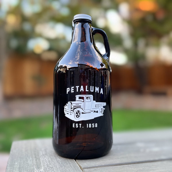 Growler 64oz Amber Glass with Petaluma Truck