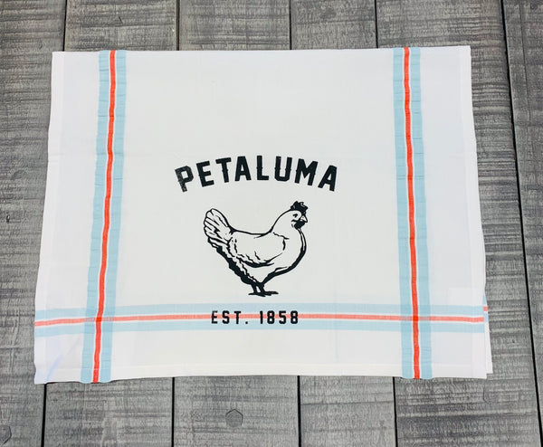 Tea Towel with Luma Vintage Petaluma Chicken -Ribbon Stripe