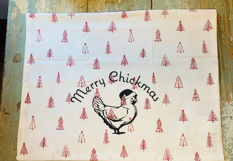 Luma Vintage Merry Chickmas (no town) Tea Towel- Red Multi Xmas Trees