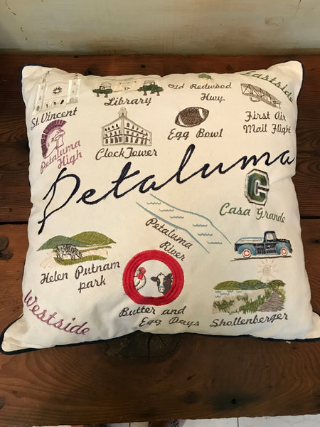Embroidered Petaluma Landmark/Map Pillow Cover