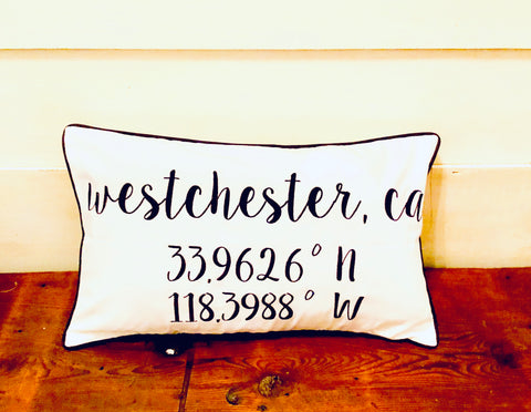 Westchester Longitude Latitude Embroidered Lumbar Pillow Cover