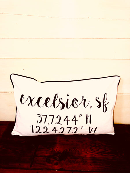 Excelsior, SF Longitude Latitude Embroidered Lumbar Pillow Cover