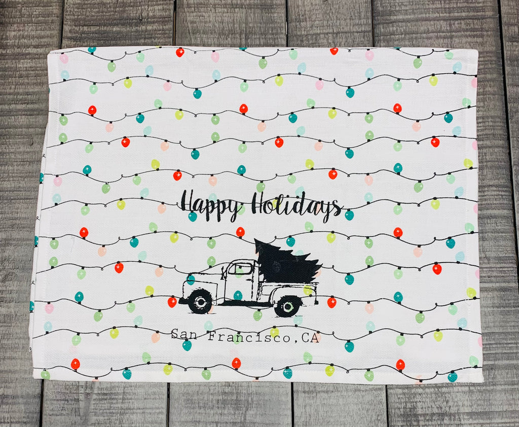 Luma Vintage Happy Holidays San Francisco Tea Towel - Holiday Lights