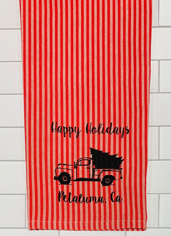 Luma Vintage Happy Holiday Petaluma Tea Towel - Red/Mauve Santa Stripe