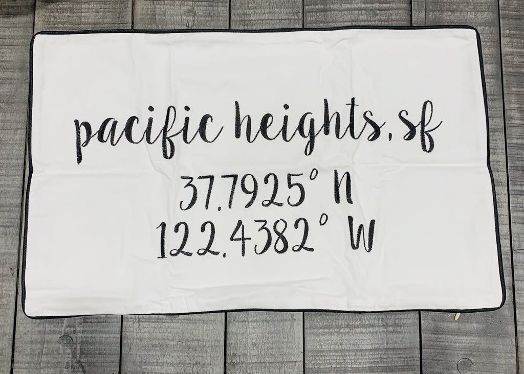 Pacific Heights Longitude Latitude Embroidered Lumbar Pillow Cover