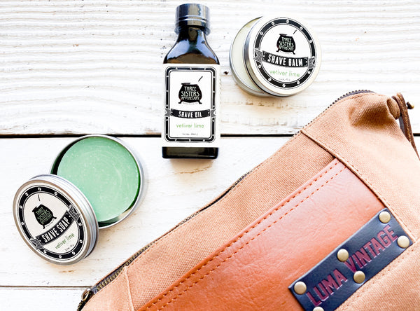 Luma Vintage Waxed Canvas Dopp Kit Set with Three Sisters Apothecary Shaving Essentials- Vetiver Lime