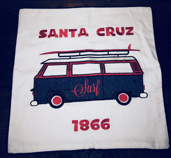 Embroidered Santa Cruz Surf Van Pillow Cover by Luma Vintage