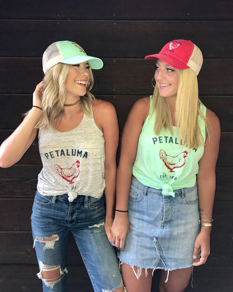 Women's Flowy Racerback Tank in Mint with Luma Vintage Petaluma Chicken