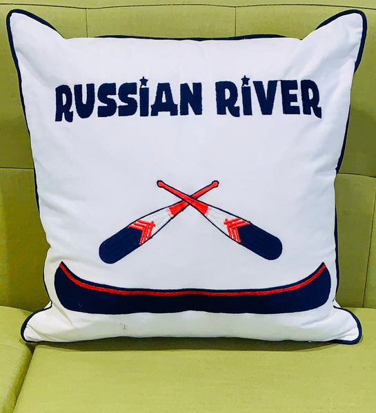 Russian River Canoe Embroidered Pillow Cover- Sonoma County Collection