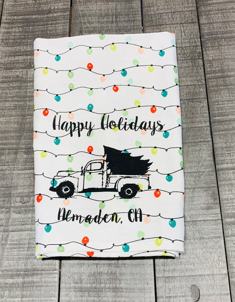 Luma Vintage Happy Holidays Almaden Tea Towel - Holiday Lights