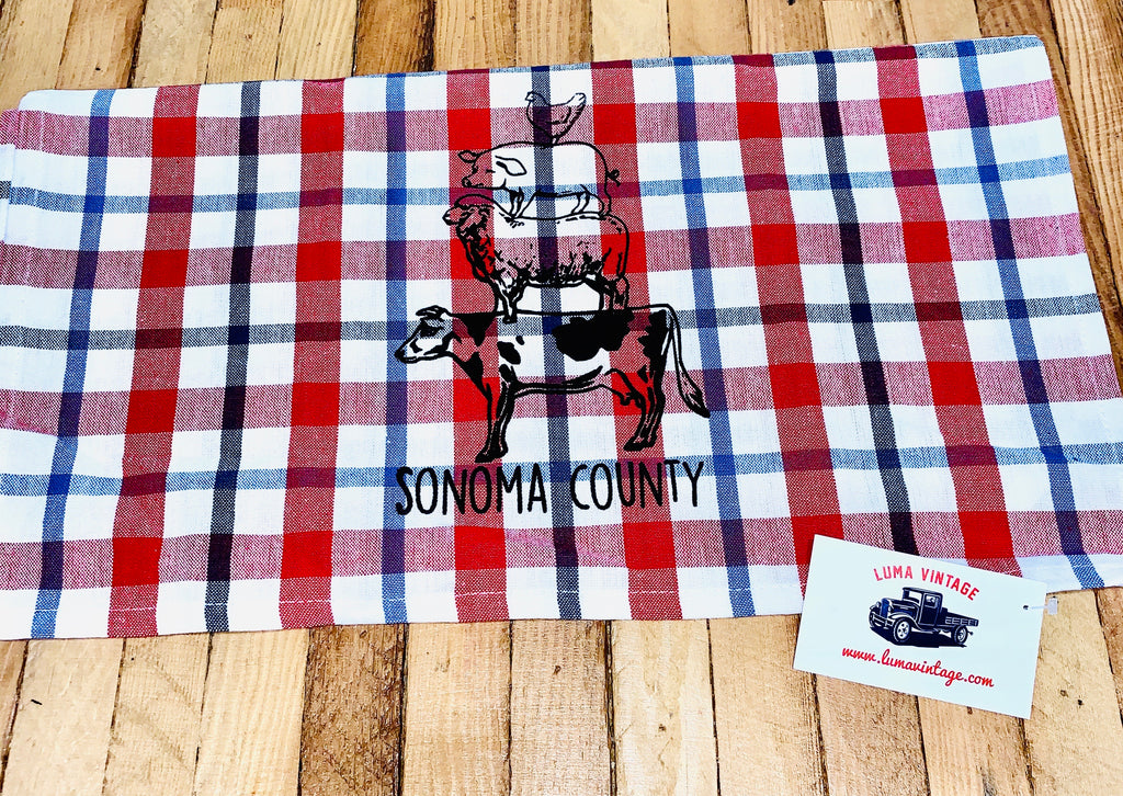 Luma Vintage Animal Stack Sonoma County Tea Towel- Gingham or Plaid