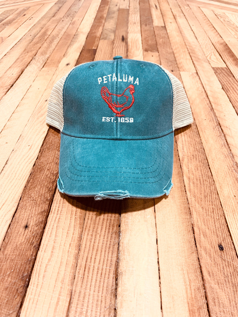 Luma Vintage Petaluma Chicken Distressed Trucker Hat, Green