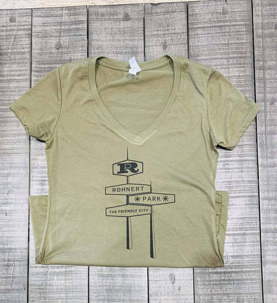 Rohnert Park Women's  Short Sleeve V-neck -Army Green