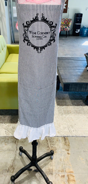Sonoma Wine Country Apron- grey stripe with ruffle