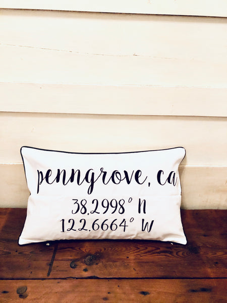 Penngrove Longitude Latitude Embroidered Lumbar Pillow Cover