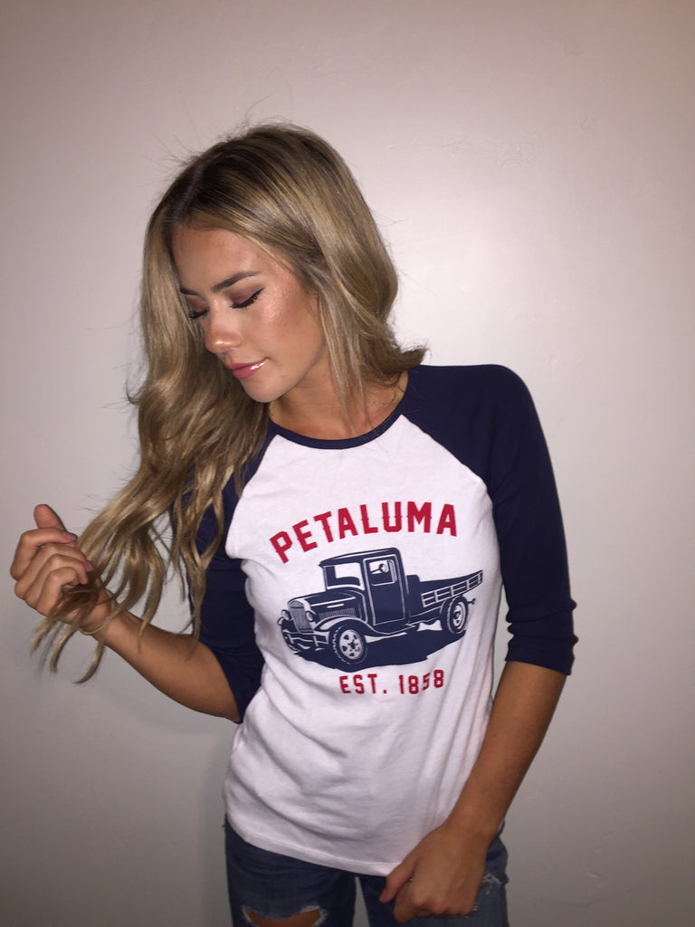 Women's Baby Rib 3/4 Sleeve Baseball Tee with  Petaluma Truck Logo White/Navy