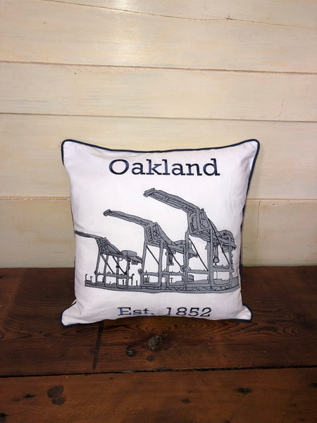 Embroidered Oakland  Pillow Cover by Luma Vintage