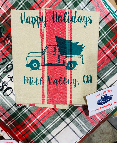 Luma Vintage Happy Holidays Mill Valley Tea Towel
