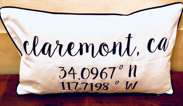 Claremont Longitude Latitude Embroidered Lumbar Pillow Cover