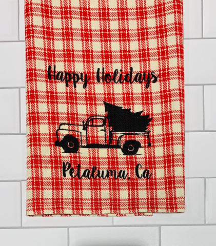 Luma Vintage Happy Holiday Petaluma Tea Towel - Farmhouse Plaid