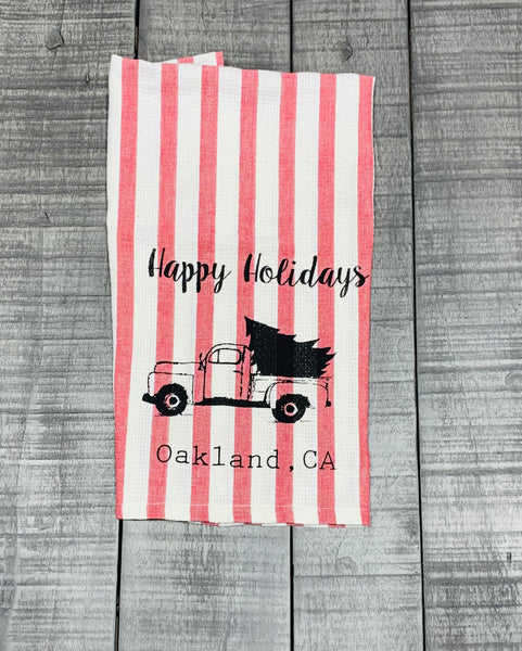 Luma Vintage Happy Holidays Oakland Tea Towel -Pink Stripe