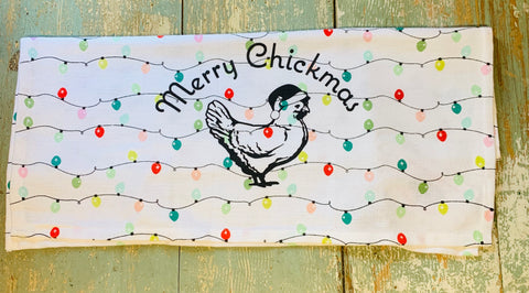 Luma Vintage Merry Chickmas (no town) Tea Towel-Holiday Lights