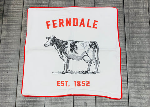 Embroidered Ferndale Cow Pillow Cover