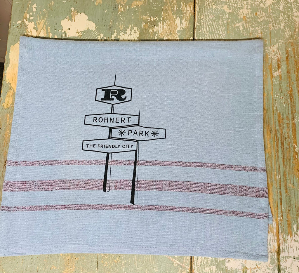 Rohnert Park Tea Towel by Luma Vintage - Blue with Merlot Stripes