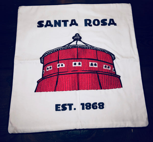 Embroidered Santa Rosa Round Barn Pillow Cover by Luma Vintage