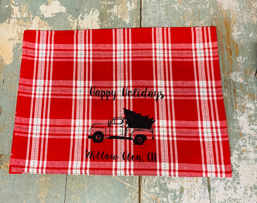Willow Glen Happy Holidays Tea Towel - Red Plaid