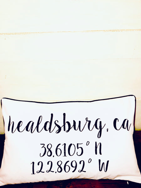 Healdsburg Longitude Latitude Embroidered Lumbar Pillow Cover