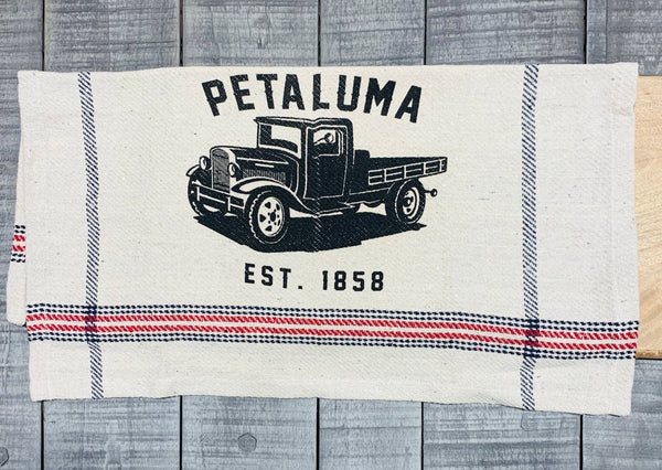 Tea Towel with Luma Vintage Truck- Petaluma Rustic Red/Blue Stripe
