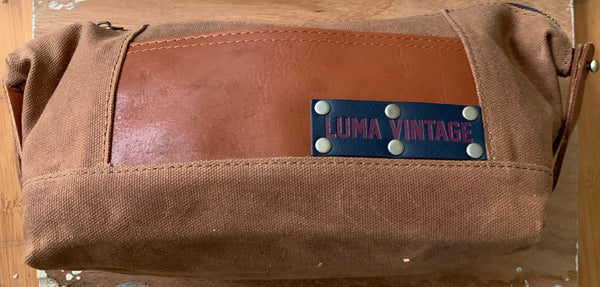 Luma Vintage Waxed Canvas Dopp Kit Set with Three Sisters Apothecary Shaving Essentials- Juniper Citrus